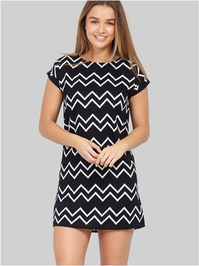 Izabel zig zag shift dress
