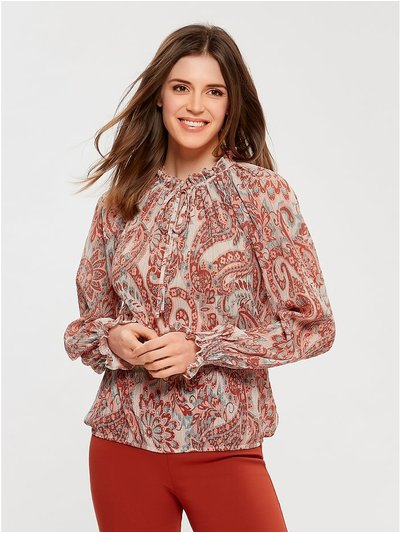 Paisley pattern pie crust blouse