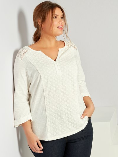 Plus lace shoulder top