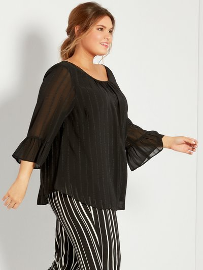 Plus metallic stripe frill sleeve top