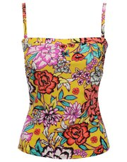 Bright floral print multiway tankini top