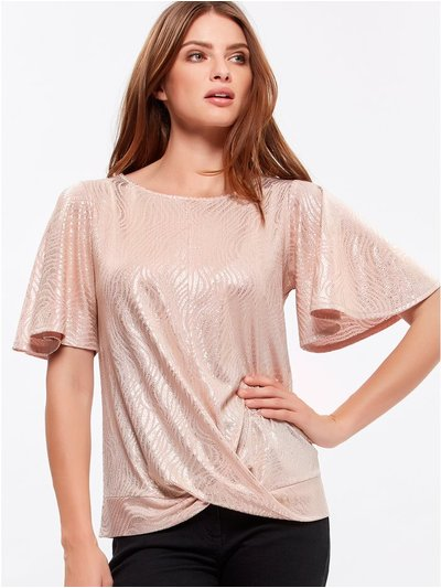 Petite knot shimmer top