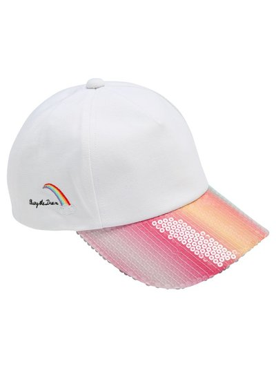 Teen rainbow embroidered sequin cap