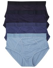 Pure cotton plain blue briefs four pack