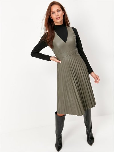 Sonder Studio pu pleated dress