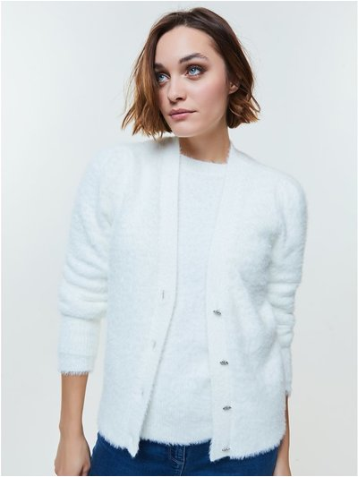 Jewel button fluffy cardigan