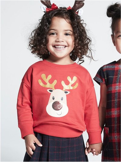 Sequin reindeer Christmas sweatshirt (9 mths - 3 yrs)