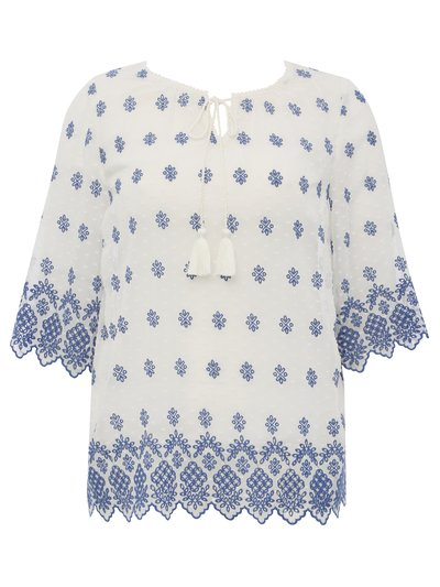 Plus schiffli lace embroidered top