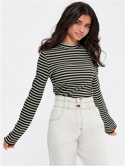 Teen striped high neck lettuce hem top