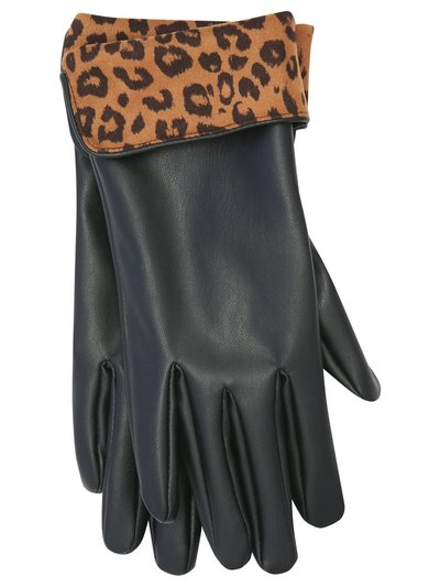Leather look leopard gloves