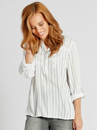 Petite stripe print embroidered shirt