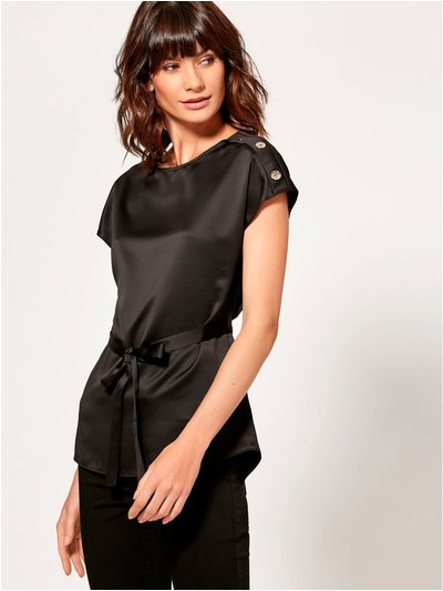 Satin button trim top