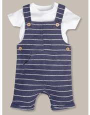 Striped dungaree and tee set (newborn-18mths)