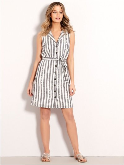 Petite stripe schiffli lace shirt dress