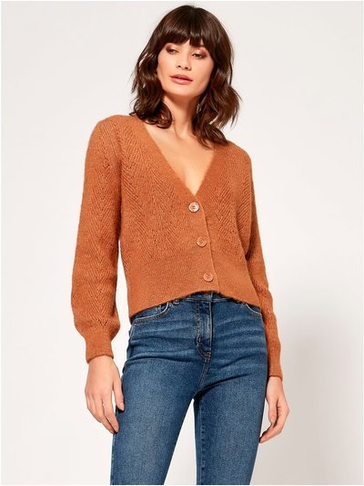Pointelle v neck cardigan