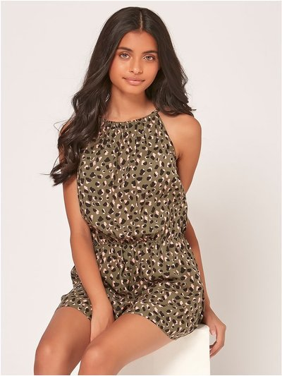 Teen leopard print playsuit