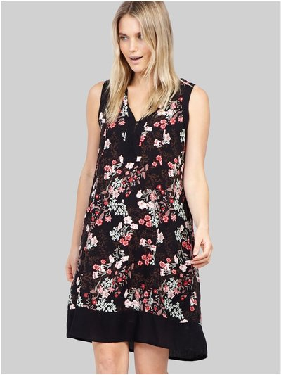 Izabel collarless floral shift dress