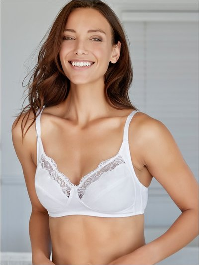 Lace trim non-wired bra