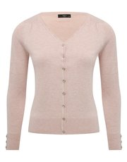 Petite plain button trim cardigan