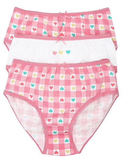Gingham heart briefs three pack (2-10yrs)