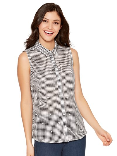 Sleeveless gingham print shirt