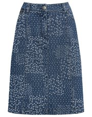 Denim floral print A-line skirt