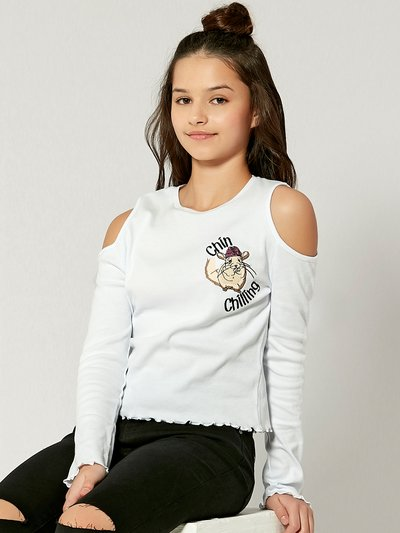 Teens' cold shoulder chinchilla embroidered top