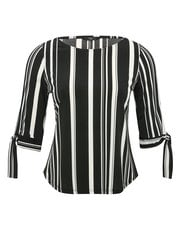 Petite striped tie sleeve top