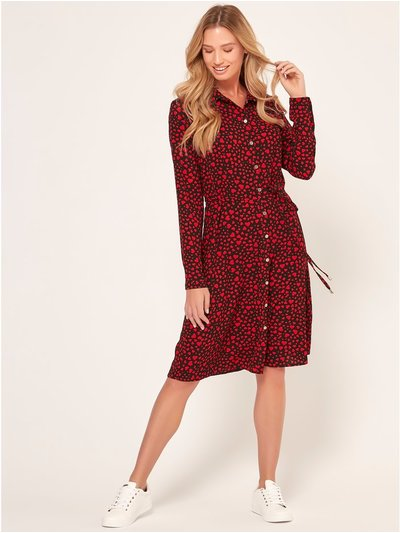 Heart print shirt dress