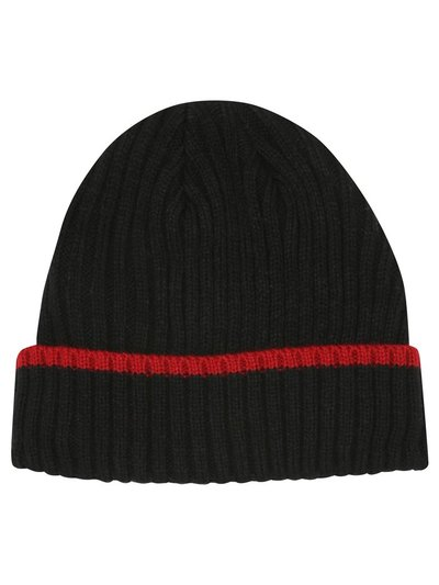 Red stripe thermal beanie hat