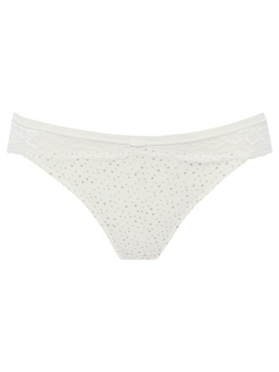 Patterned lace trim midi briefs