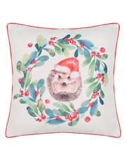 Hedgehog Christmas cushion