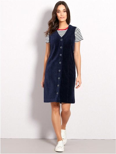 Cord button front pinafore dress