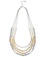 Facet bead multi chain necklace