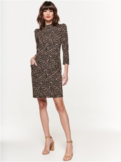Animal high neck jacquard dress