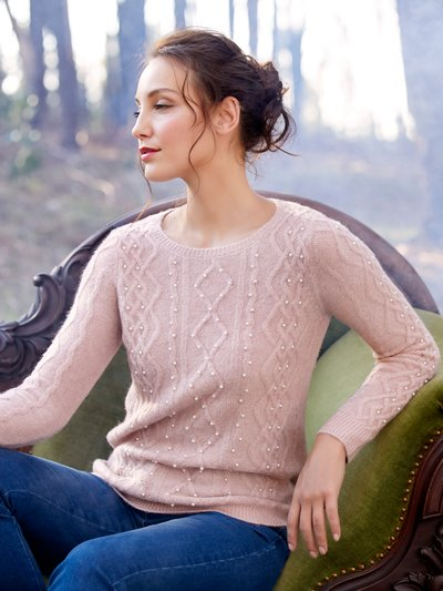 Pearl embellished cable knit jumper