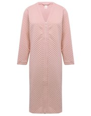 Quilted zip front dressing gown