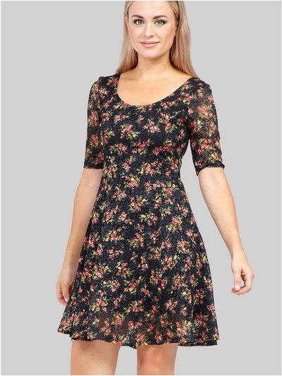 Izabel floral lace skater dress