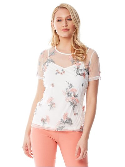 Roman Originals floral mesh embroidered top