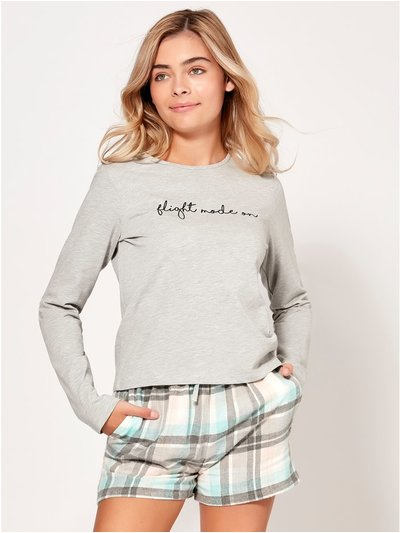 Teen slogan pyjama top