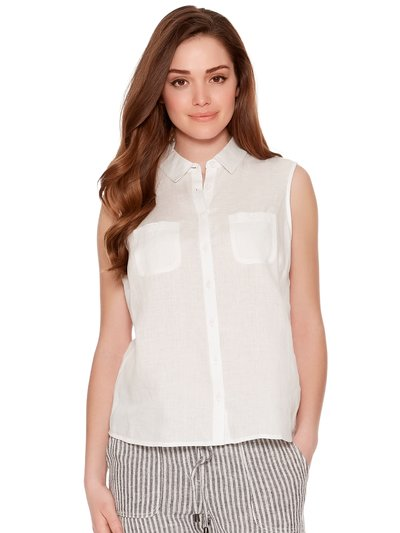 Petite sleeveless pure linen shirt