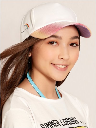 Teens' rainbow embroidered sequin cap