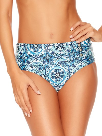 Tile print roll over bikini bottoms
