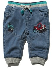 Digger embroidery stretch waist jeans