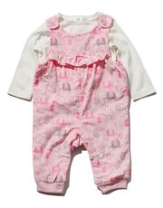 Elephant cord dungarees and top set