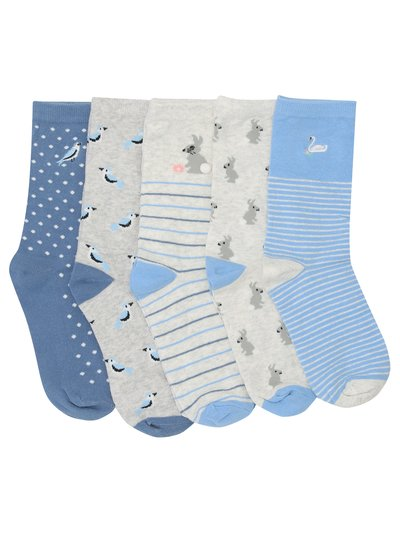 Bunny and bird socks pack of five pairs