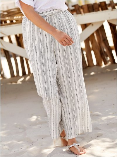 Plus stripe straight leg linen trousers