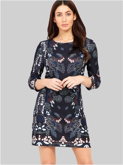 Izabel abstract floral shift dress
