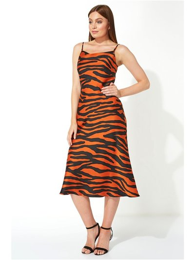 Roman Originals animal print slinky satin midi dress