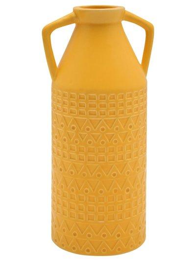 Yellow textured vase